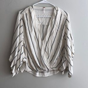Free People Black & White Striped Blouse